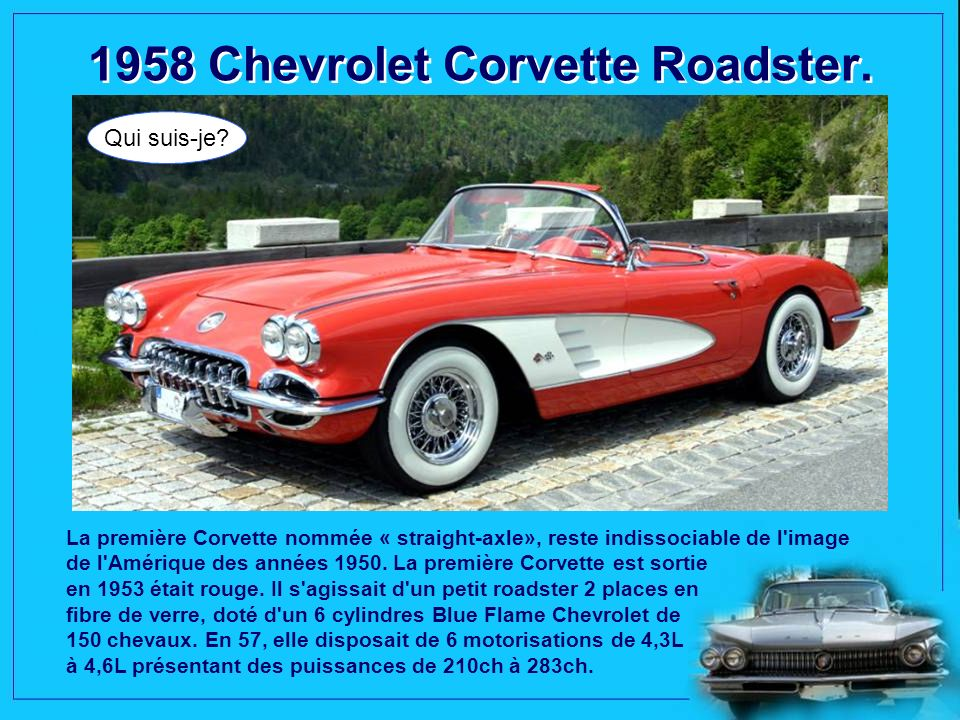 1958 Chevrolet Corvette Roadster.