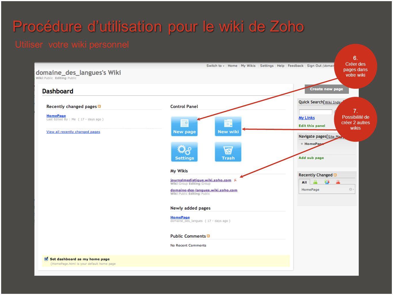 Procédure d'utilisation pour le wiki de Zoho