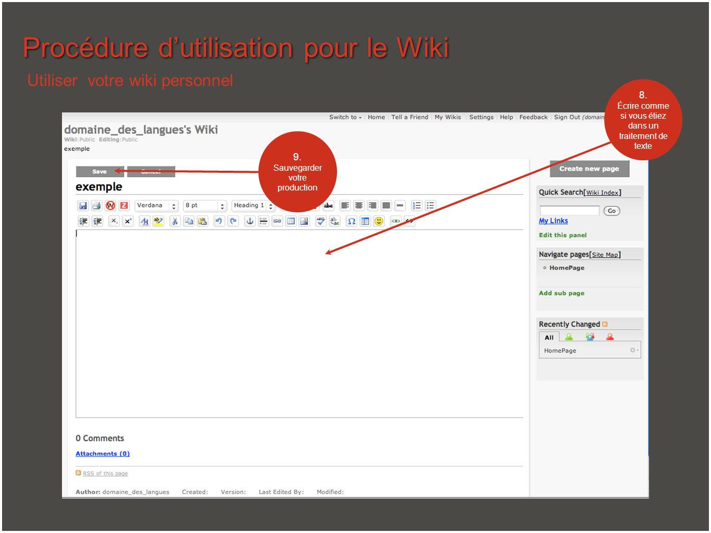 Procédure d'utilisation pour le Wiki