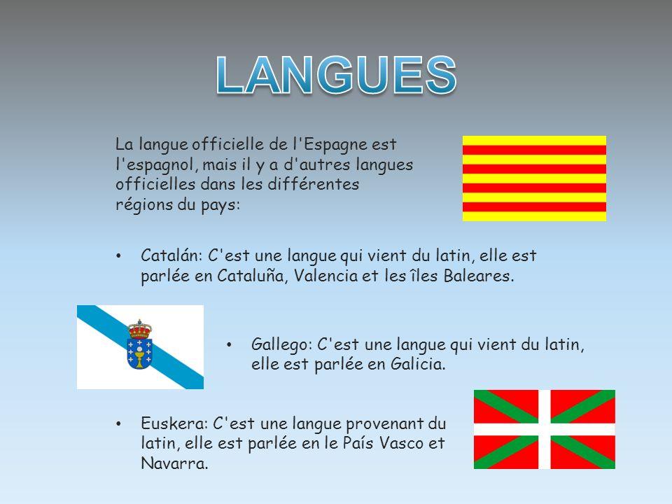 LANGUES La langue officielle de l Espagne est l espagnol, mais il y a d autres langues officielles dans les différentes régions du pays: