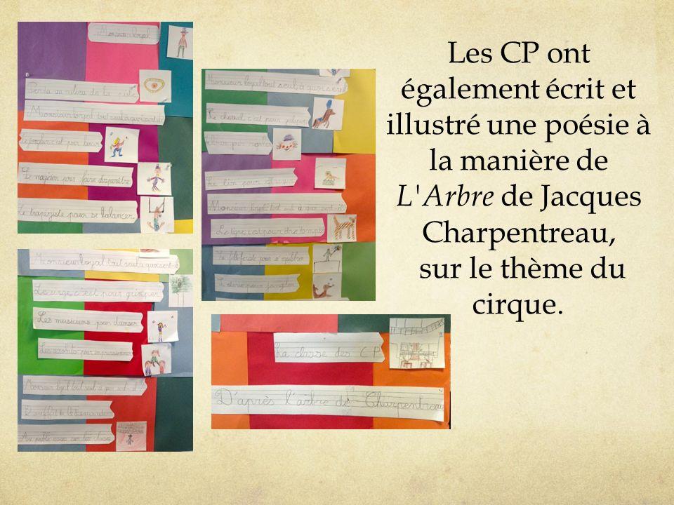 Les CP ont également écrit et illustré une poésie à la manière de L Arbre de Jacques Charpentreau, sur le thème du cirque.