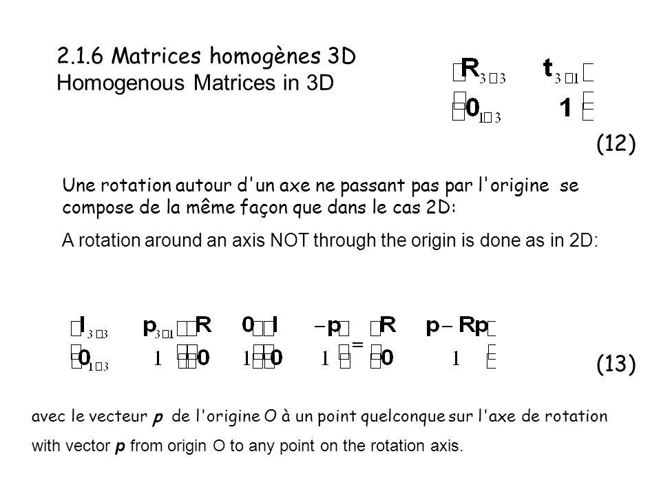2.1.6 Matrices homogènes 3D Homogenous Matrices in 3D