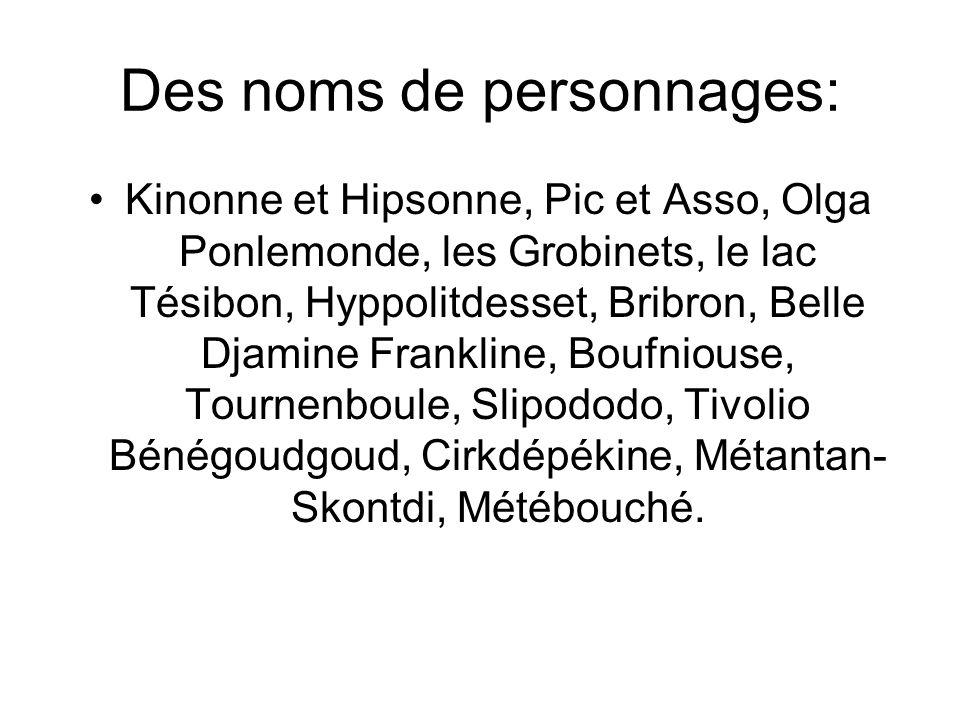 Des noms de personnages: