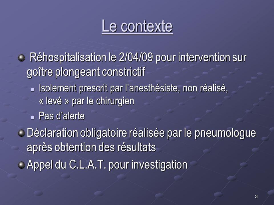 Le contexte Réhospitalisation le 2/04/09 pour intervention sur goître plongeant constrictif.