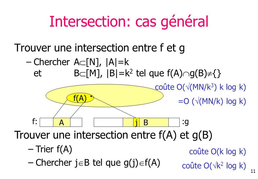 Intersection: cas général