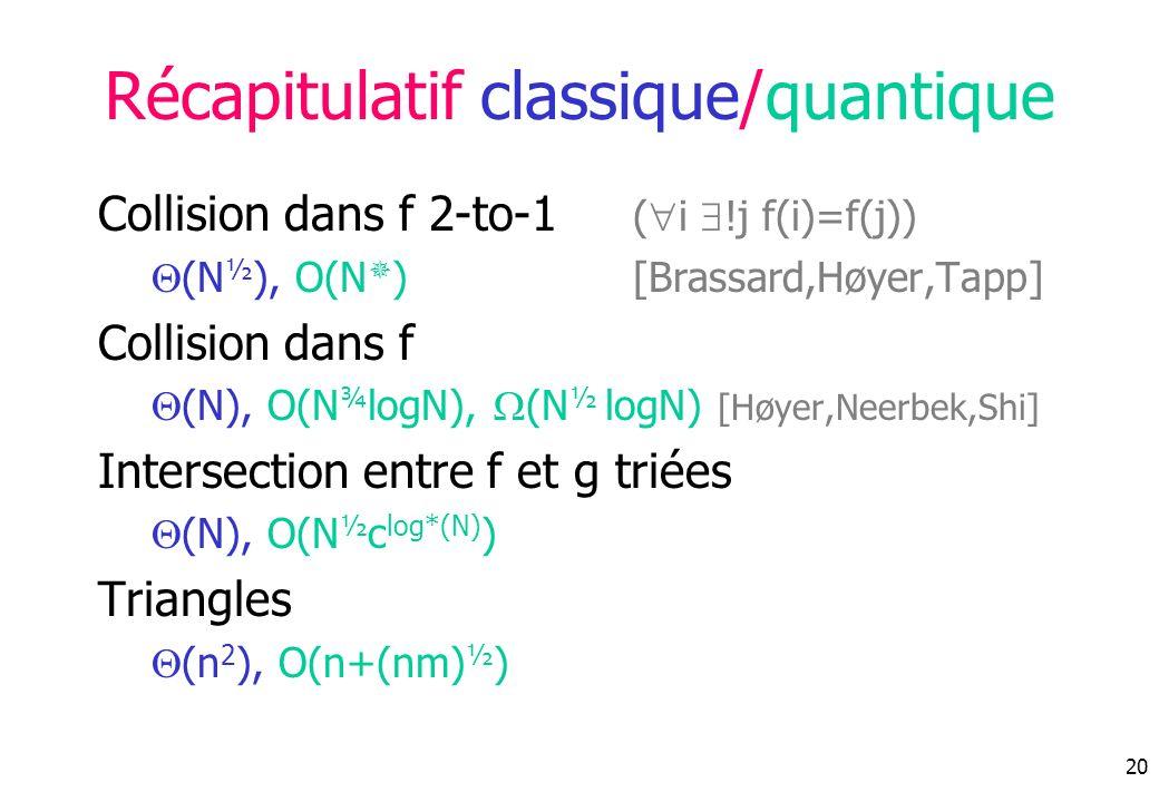 Récapitulatif classique/quantique