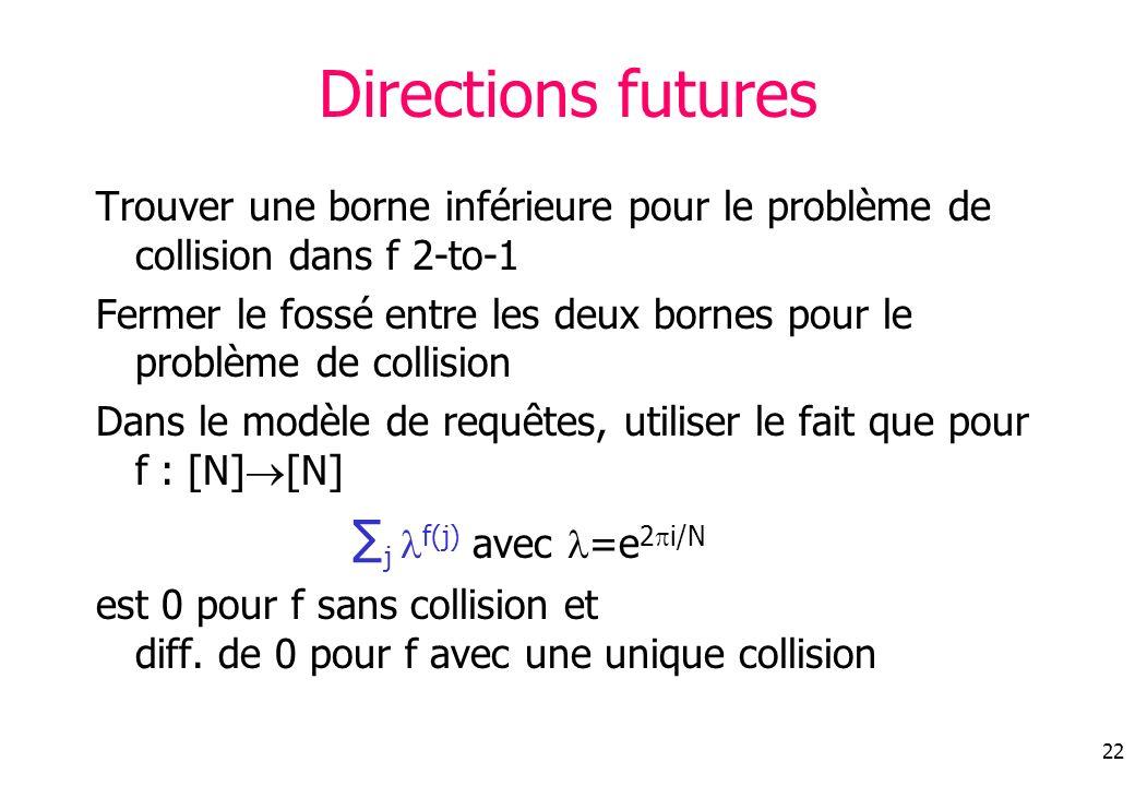 Directions futures Trouver une borne inférieure pour le problème de collision dans f 2-to-1.