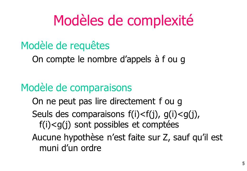 Modèles de complexité Modèle de requêtes Modèle de comparaisons