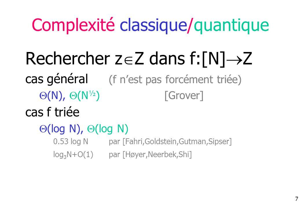 Complexité classique/quantique