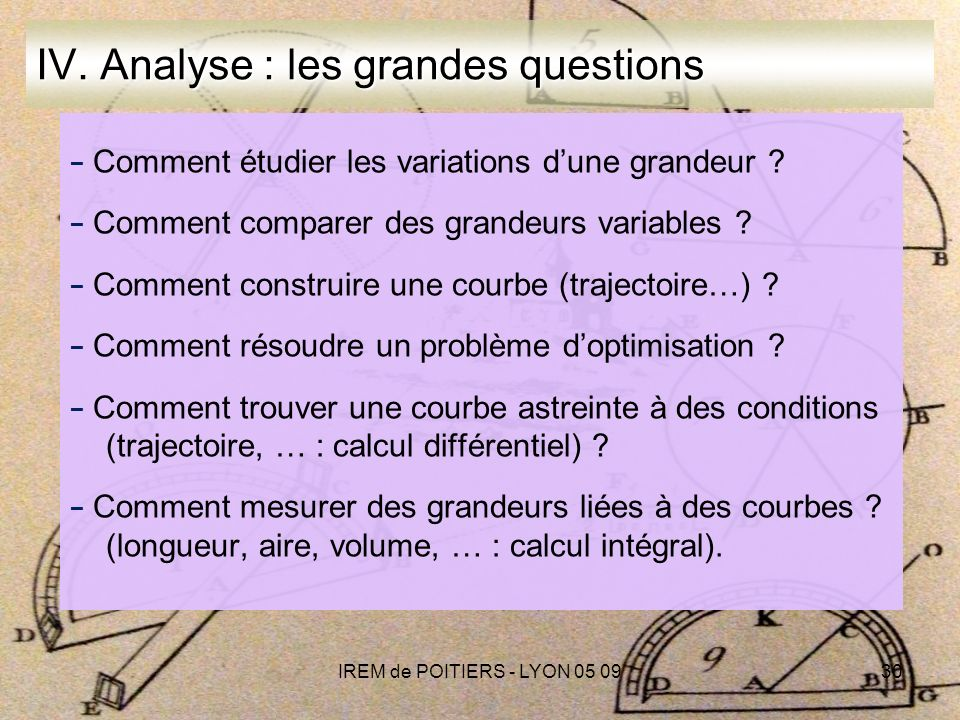 IV. Analyse : les grandes questions