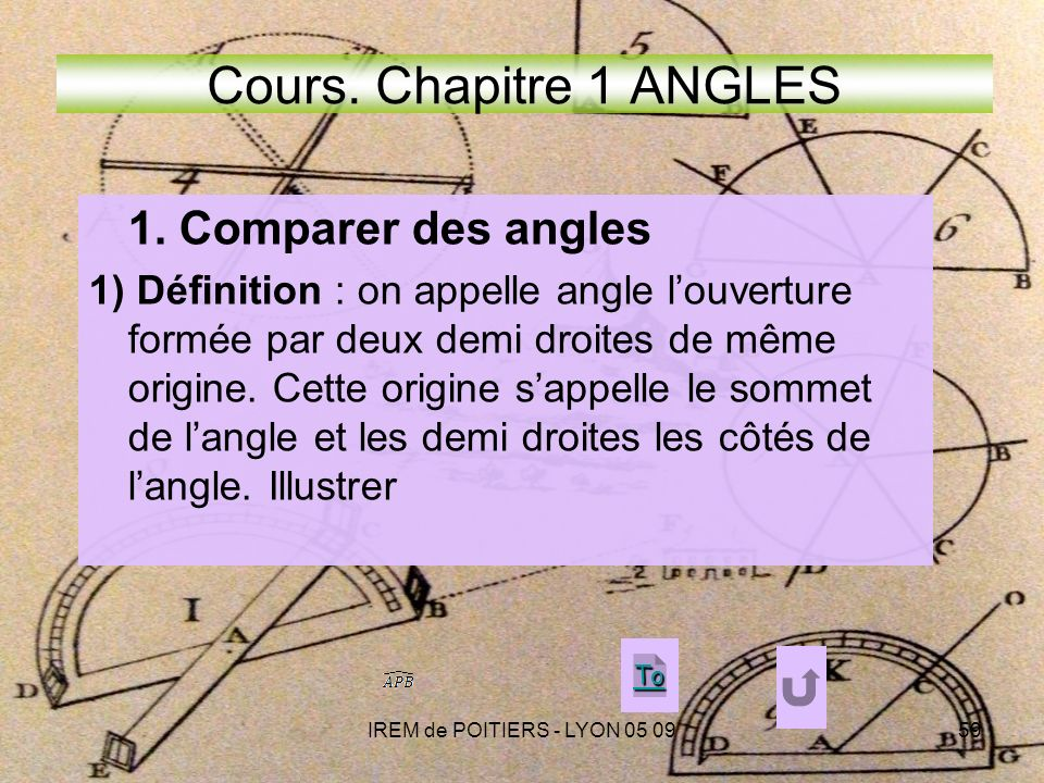 Cours. Chapitre 1 ANGLES 1. Comparer des angles