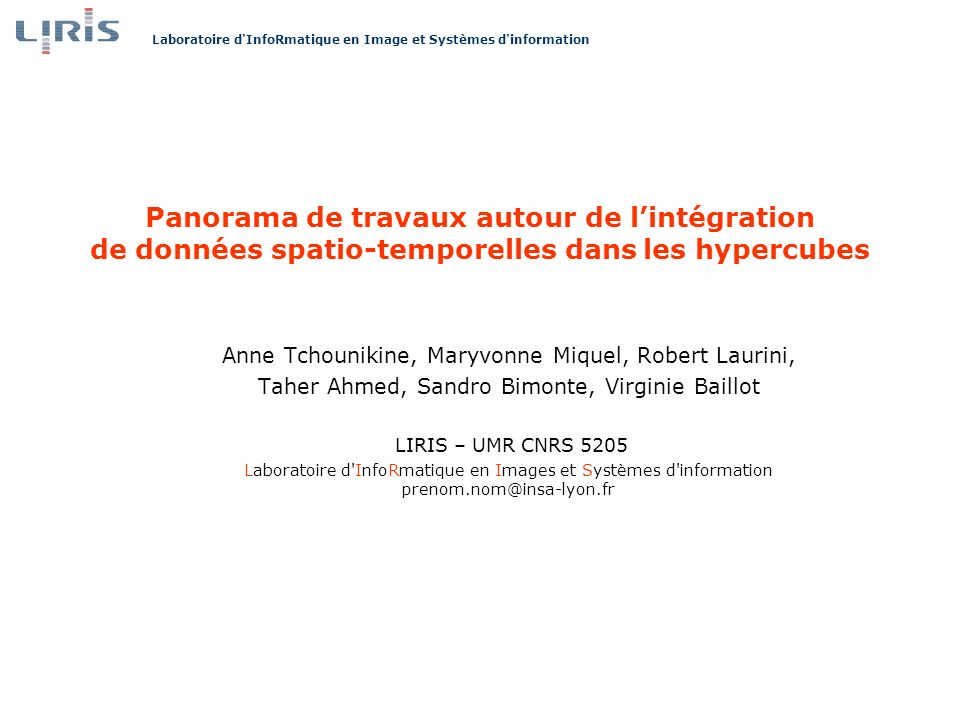 Panorama de travaux autour de l'intégration de données spatio-temporelles dans les hypercubes