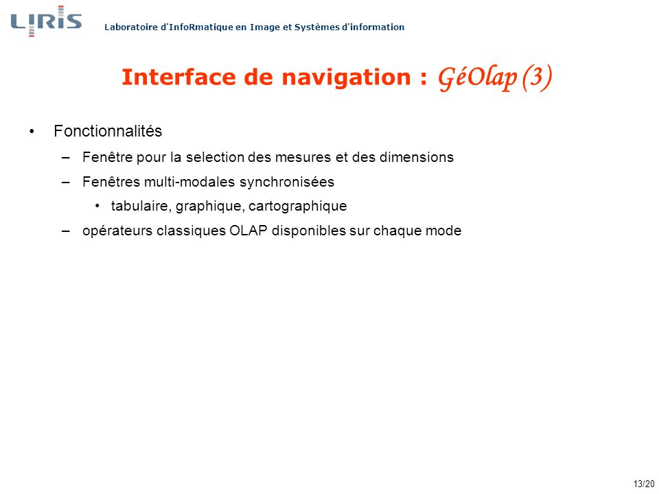 Interface de navigation : GéOlap (3)