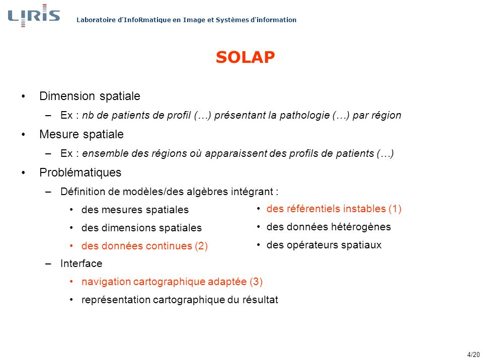 SOLAP Dimension spatiale Mesure spatiale Problématiques