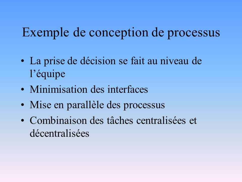 Exemple de conception de processus