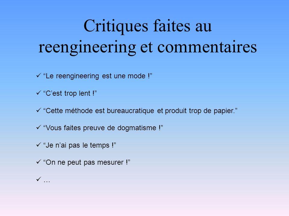 Critiques faites au reengineering et commentaires