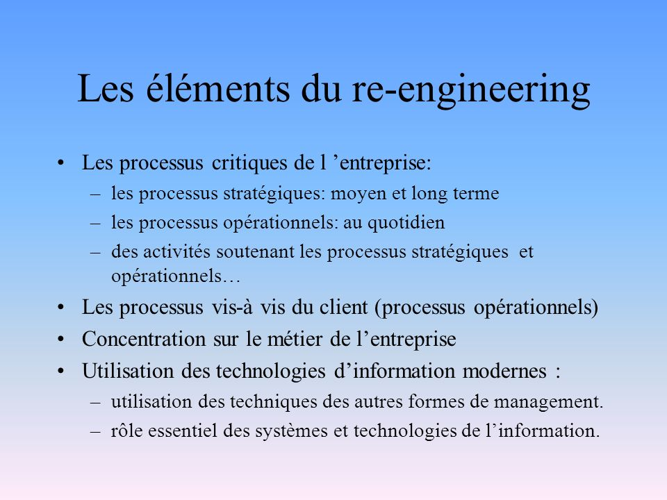 Les éléments du re-engineering