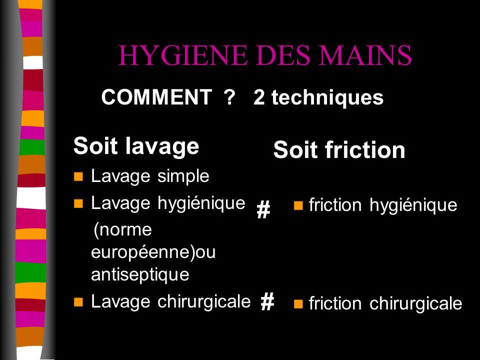 HYGIENE DES MAINS Soit lavage Soit friction # # COMMENT 2 techniques