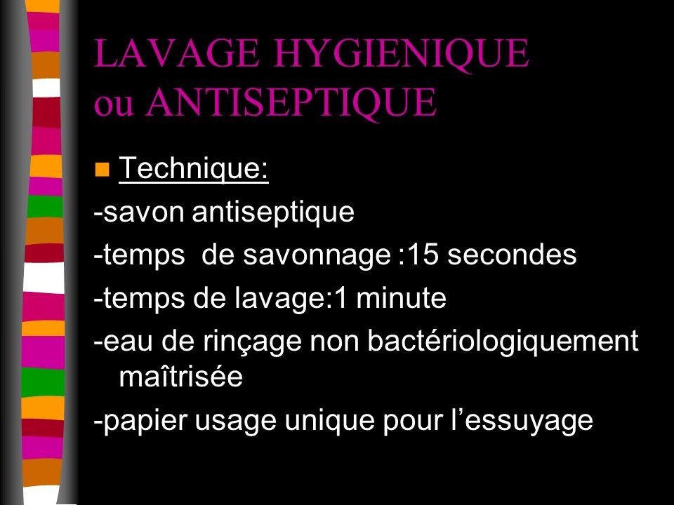 LAVAGE HYGIENIQUE ou ANTISEPTIQUE