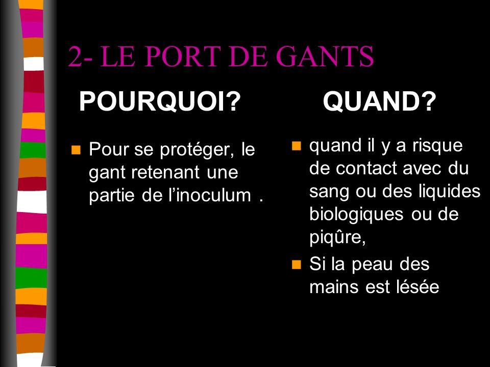 2- LE PORT DE GANTS POURQUOI QUAND