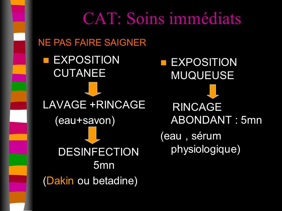 CAT: Soins immédiats EXPOSITION CUTANEE EXPOSITION MUQUEUSE