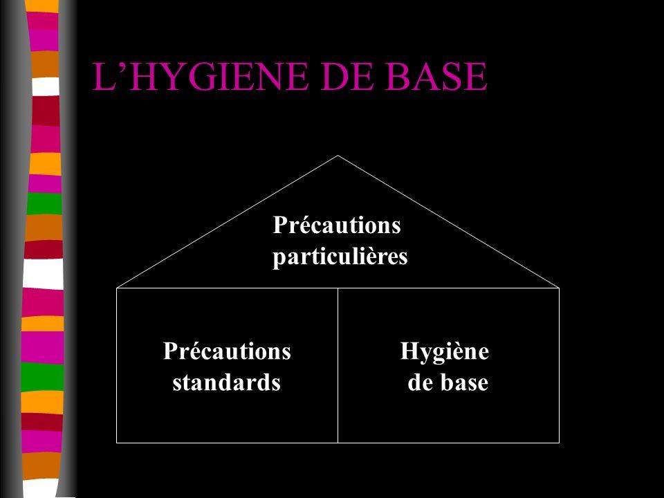 L'HYGIENE DE BASE Hygiène de base Précautions standards particulières