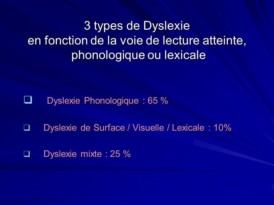 Dyslexie Phonologique : 65 %