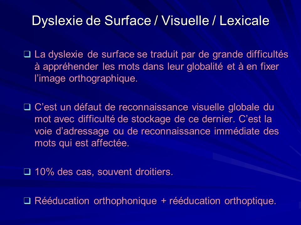 Dyslexie de Surface / Visuelle / Lexicale