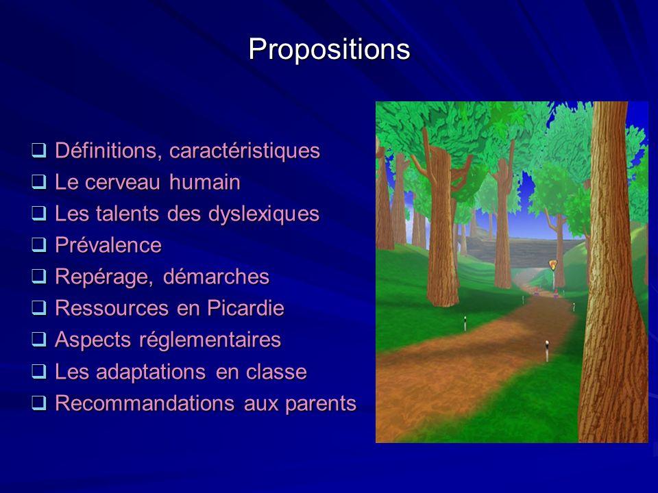 Propositions Définitions, caractéristiques Le cerveau humain