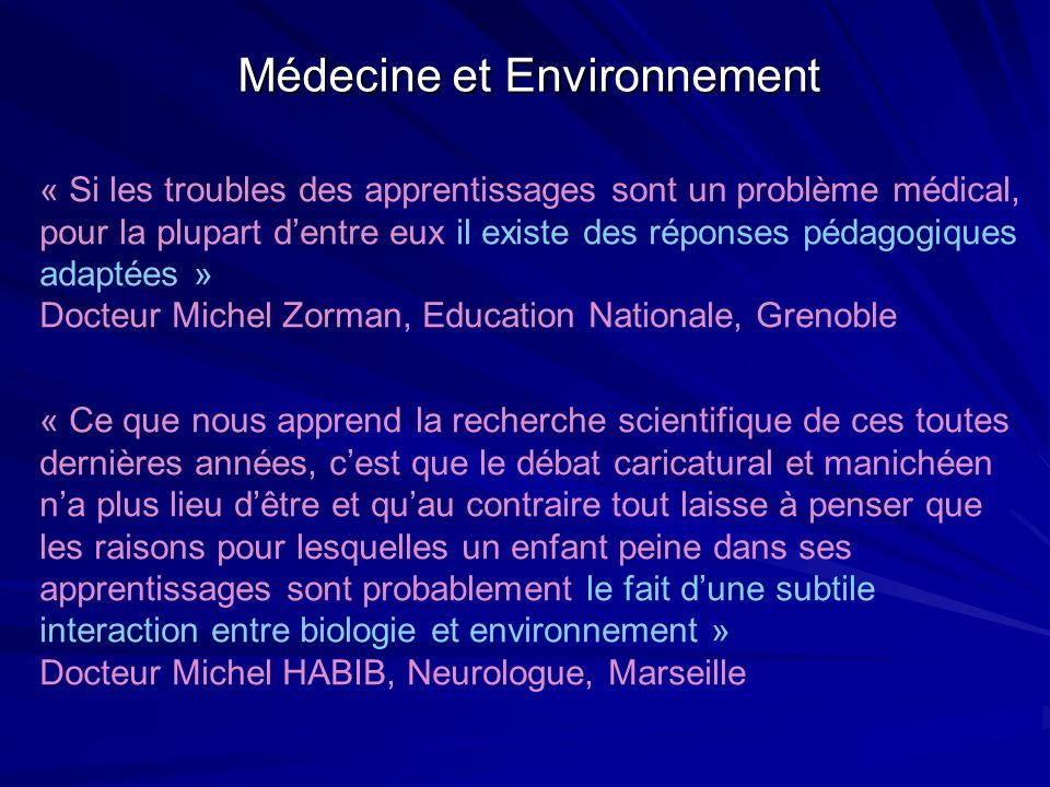 Médecine et Environnement