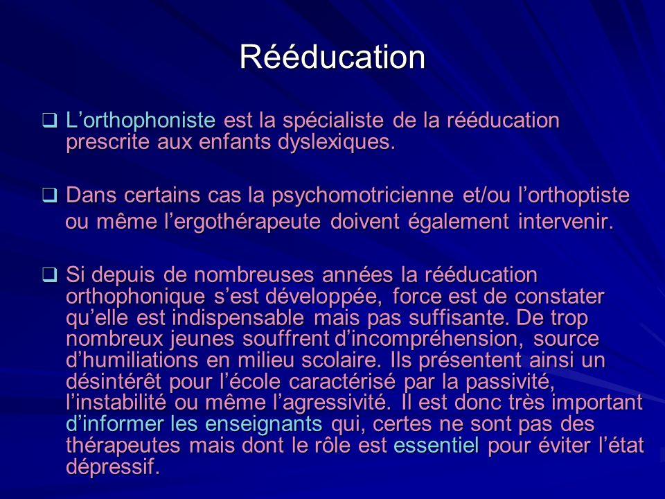 Rééducation L'orthophoniste est la spécialiste de la rééducation prescrite aux enfants dyslexiques.