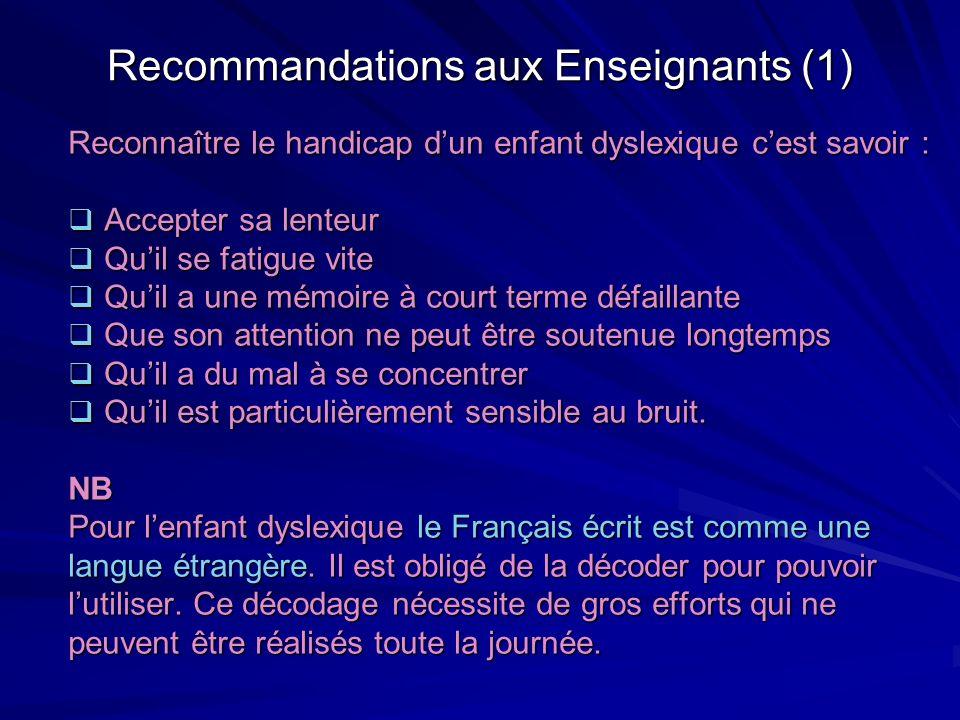 Recommandations aux Enseignants (1)