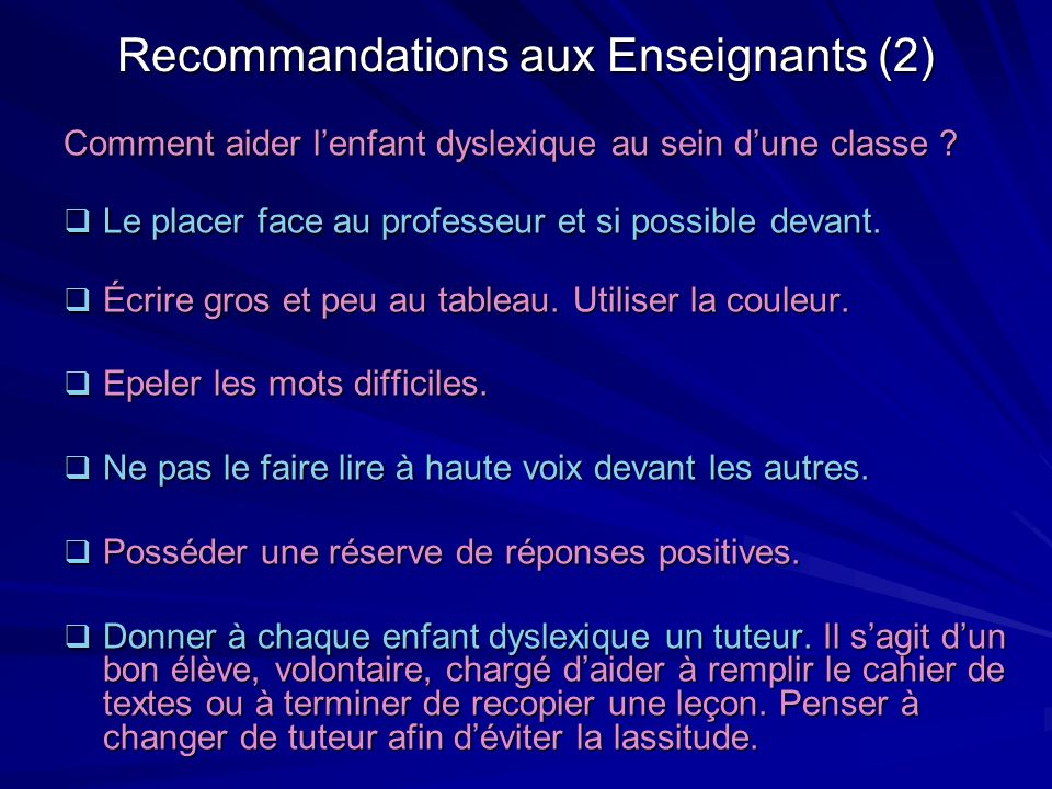 Recommandations aux Enseignants (2)