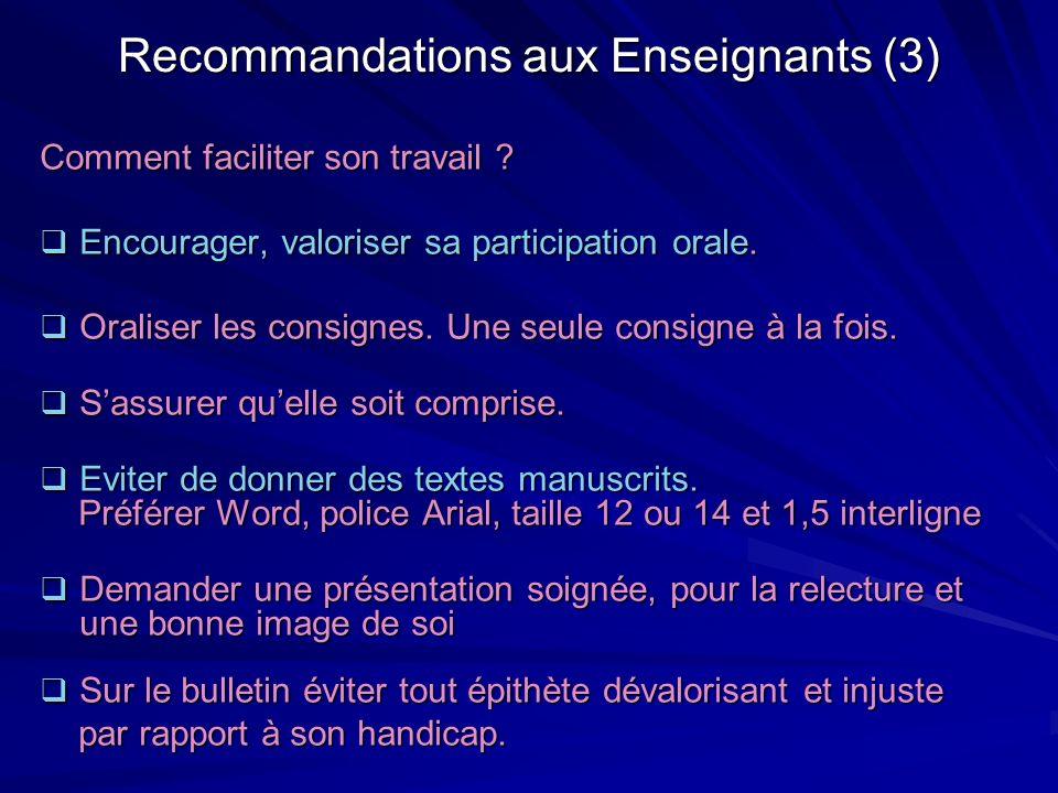 Recommandations aux Enseignants (3)