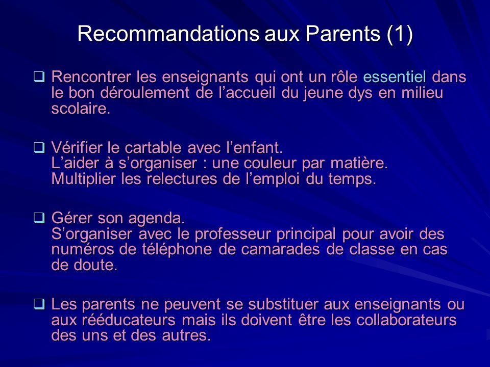 Recommandations aux Parents (1)