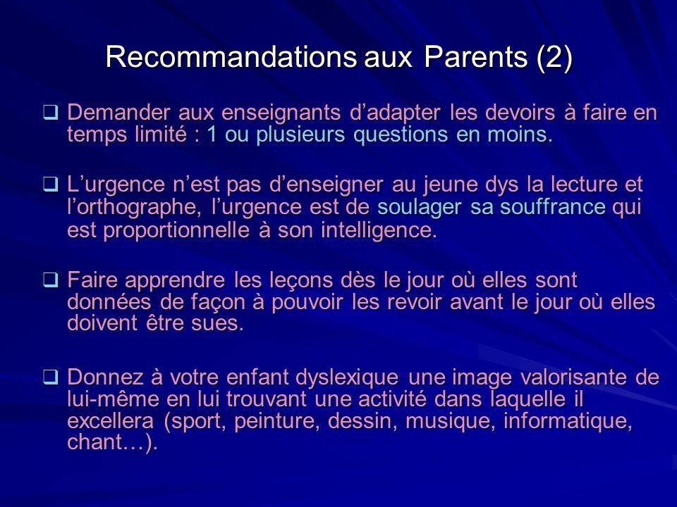 Recommandations aux Parents (2)