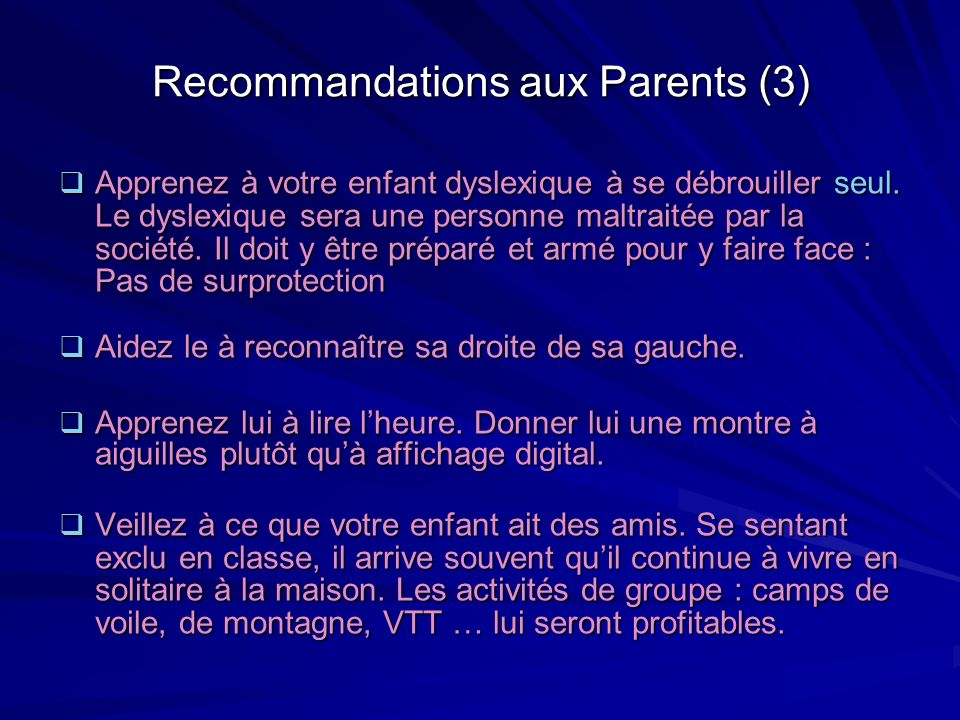 Recommandations aux Parents (3)