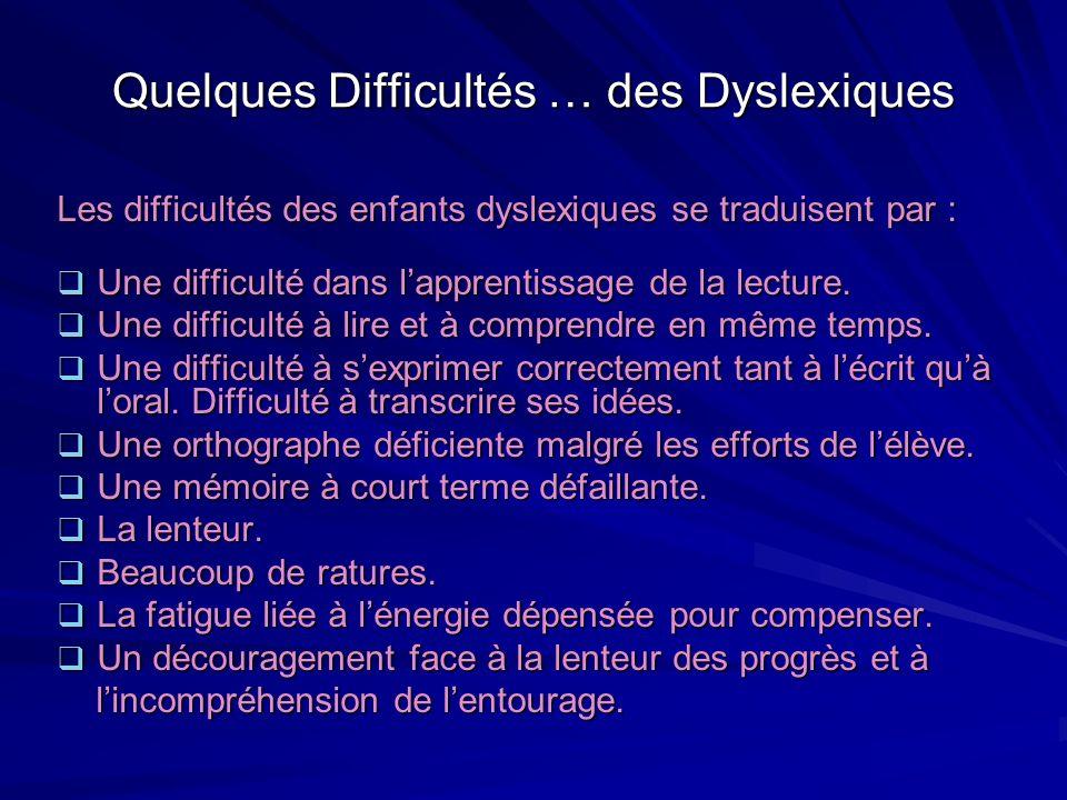 Quelques Difficultés … des Dyslexiques
