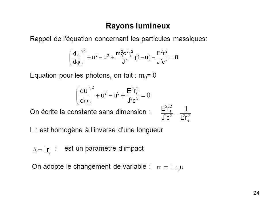 Rayons lumineux Rappel de l'équation concernant les particules massiques: Equation pour les photons, on fait : m0= 0.