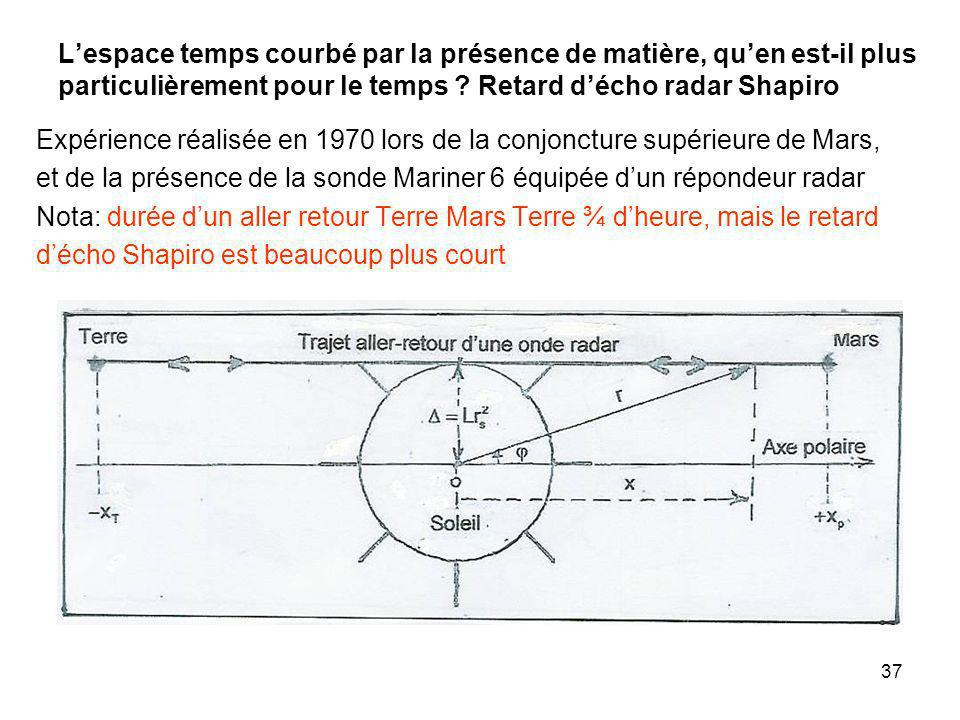L'espace temps courbé par la présence de matière, qu'en est-il plus particulièrement pour le temps Retard d'écho radar Shapiro