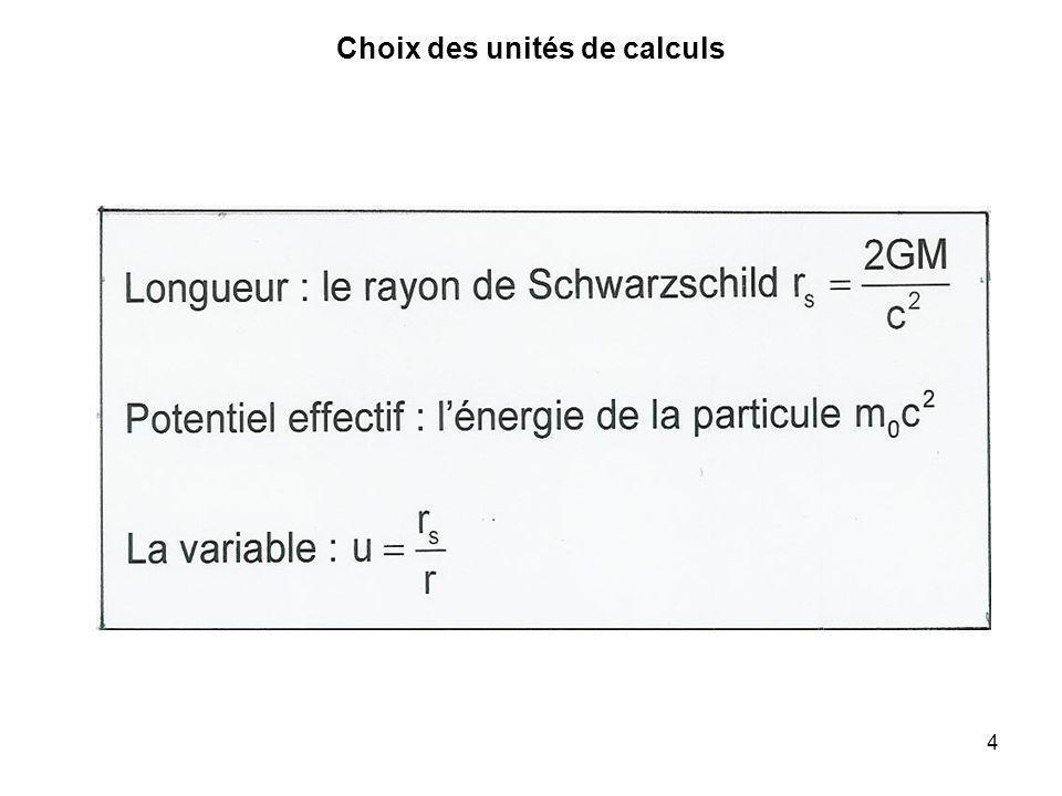 Choix des unités de calculs