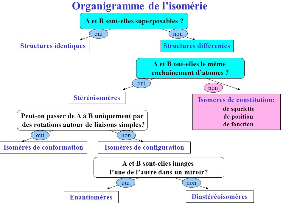 Organigramme de l'isomérie