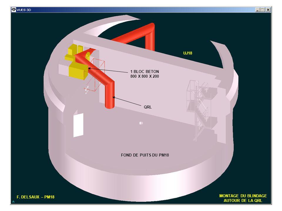 UJ18 1 BLOC BETON. 800 X 800 X 200. QRL. FOND DE PUITS DU PM18. F. DELSAUX – PM18. MONTAGE DU BLINDAGE.