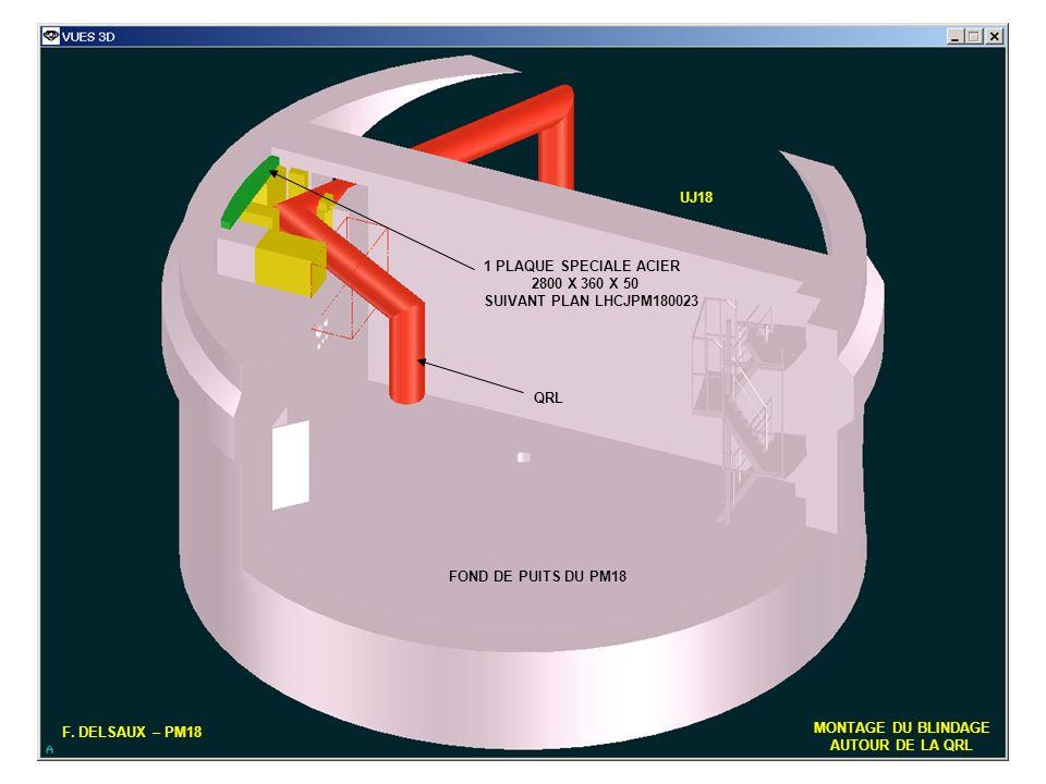 UJ18 1 PLAQUE SPECIALE ACIER. 2800 X 360 X 50. SUIVANT PLAN LHCJPM180023. QRL. FOND DE PUITS DU PM18.