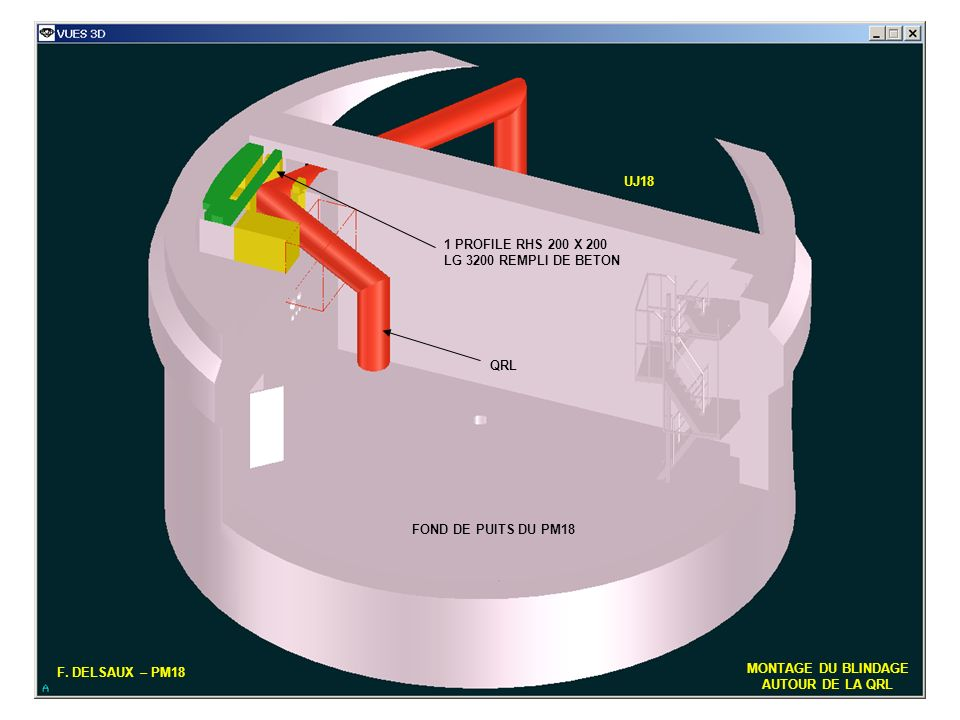 UJ18 1 PROFILE RHS 200 X 200. LG 3200 REMPLI DE BETON. QRL. FOND DE PUITS DU PM18. F. DELSAUX – PM18.