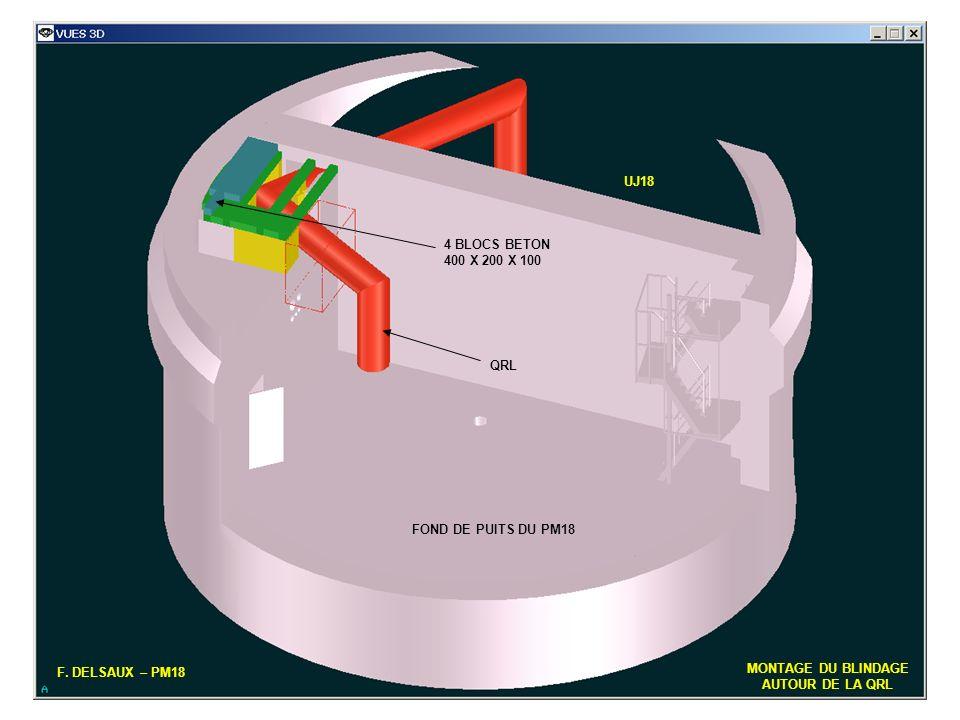 UJ18 4 BLOCS BETON. 400 X 200 X 100. QRL. FOND DE PUITS DU PM18. F. DELSAUX – PM18. MONTAGE DU BLINDAGE.
