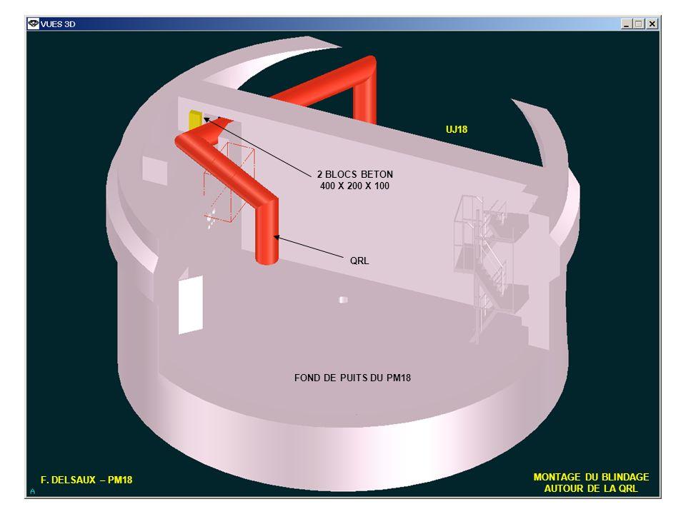 UJ18 2 BLOCS BETON. 400 X 200 X 100. QRL. FOND DE PUITS DU PM18. F. DELSAUX – PM18. MONTAGE DU BLINDAGE.