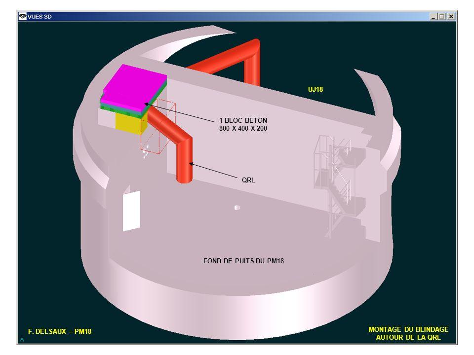 UJ18 1 BLOC BETON. 800 X 400 X 200. QRL. FOND DE PUITS DU PM18. F. DELSAUX – PM18. MONTAGE DU BLINDAGE.