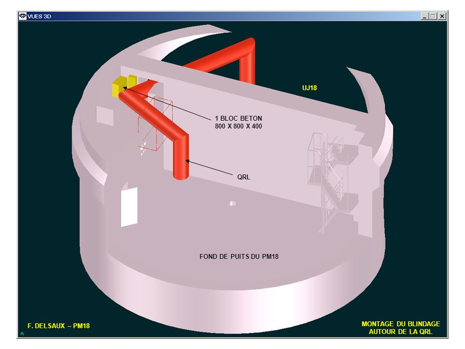 UJ18 1 BLOC BETON. 800 X 800 X 400. QRL. FOND DE PUITS DU PM18. F. DELSAUX – PM18. MONTAGE DU BLINDAGE.