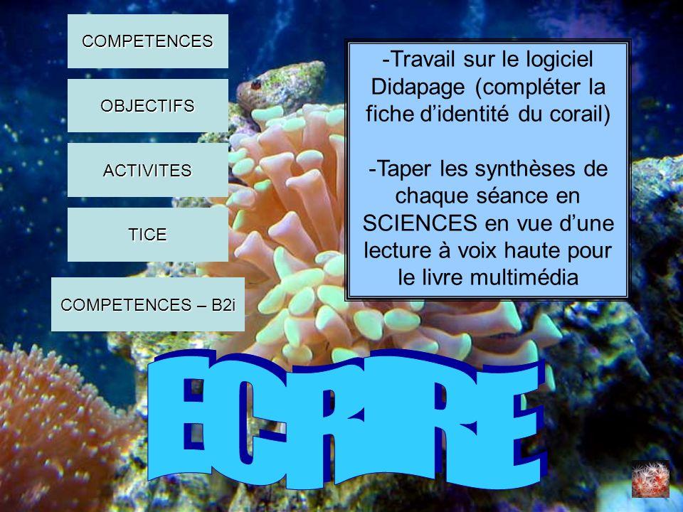 COMPETENCES -Travail sur le logiciel Didapage (compléter la fiche d'identité du corail)